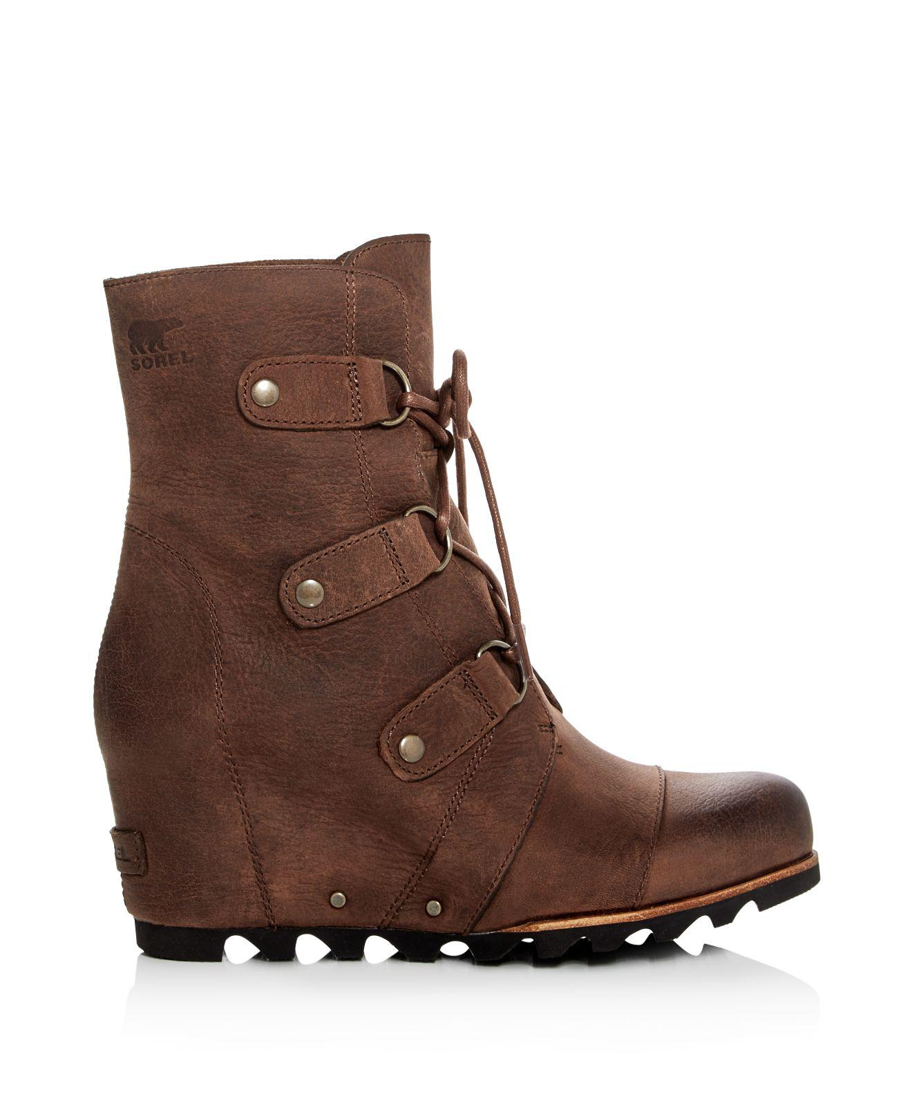 Sorel Leather Joan Of Arctic Lace Up Wedge Booties in Tobacco (Brown)