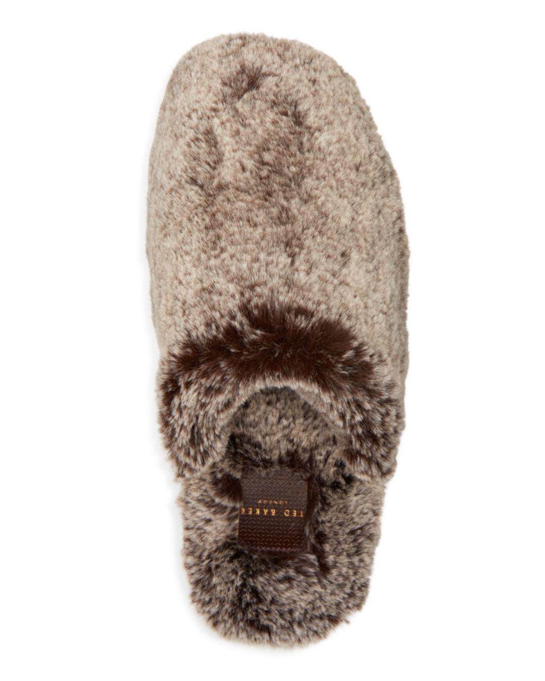 8ffcf1b4cb1967 Lyst - Ted Baker Men s Nnyah Faux Fur Slippers in Gray for Men