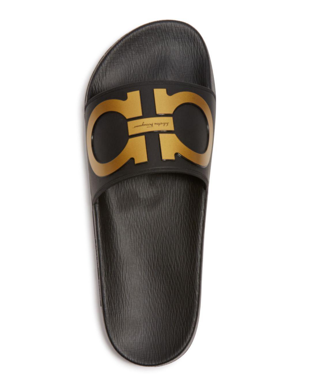 1b9a47298bf1 Lyst - Ferragamo Groove Gancini Slide Sandal in Black for Men - Save  56.41025641025641%
