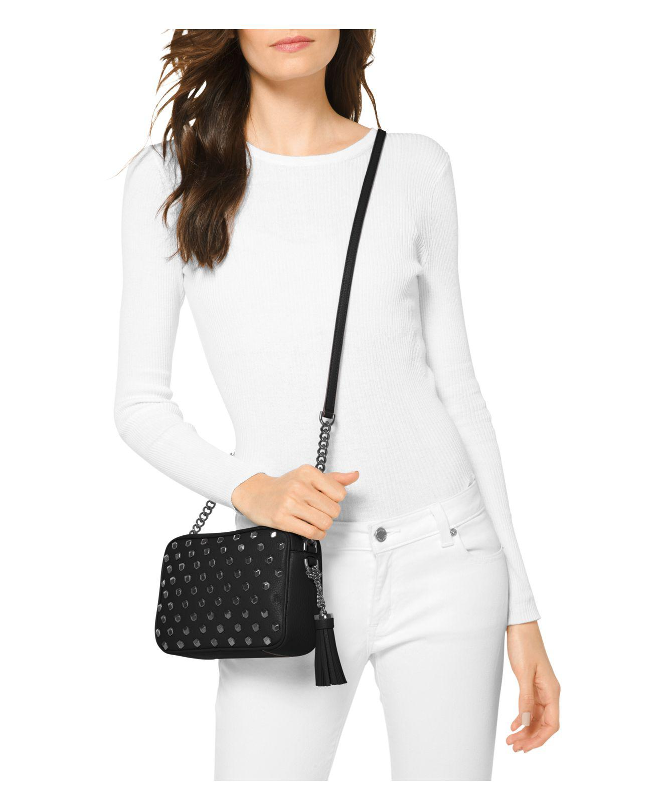 Ginny Stud Leather Crossbody Bag