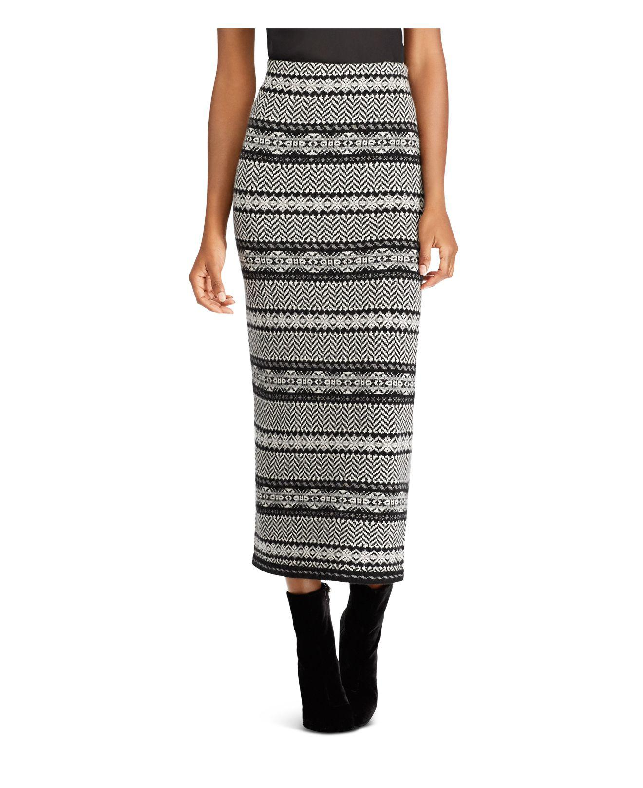 Ralph lauren Lauren Graphic Fair Isle Sweater Skirt in Black | Lyst
