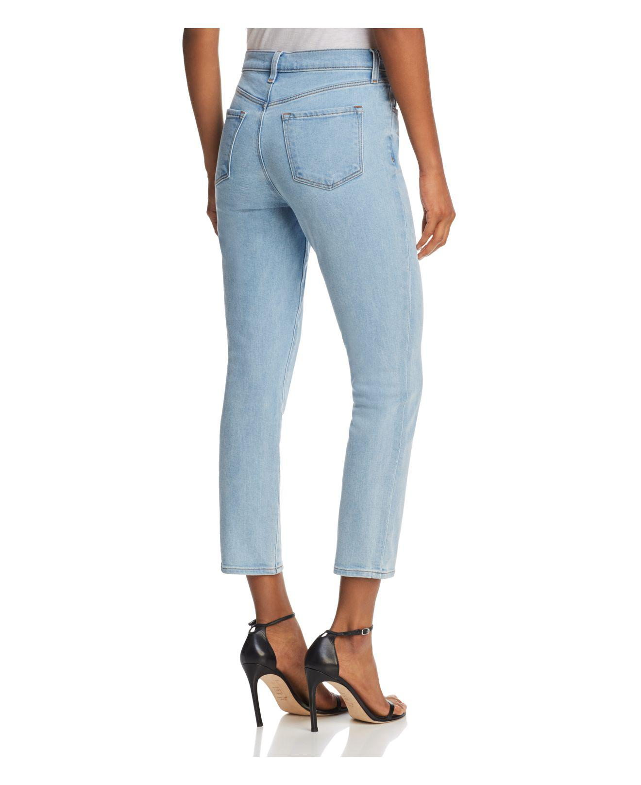 J Brand Denim Ruby High-rise Cropped Straight Jeans In Silvery in Blue