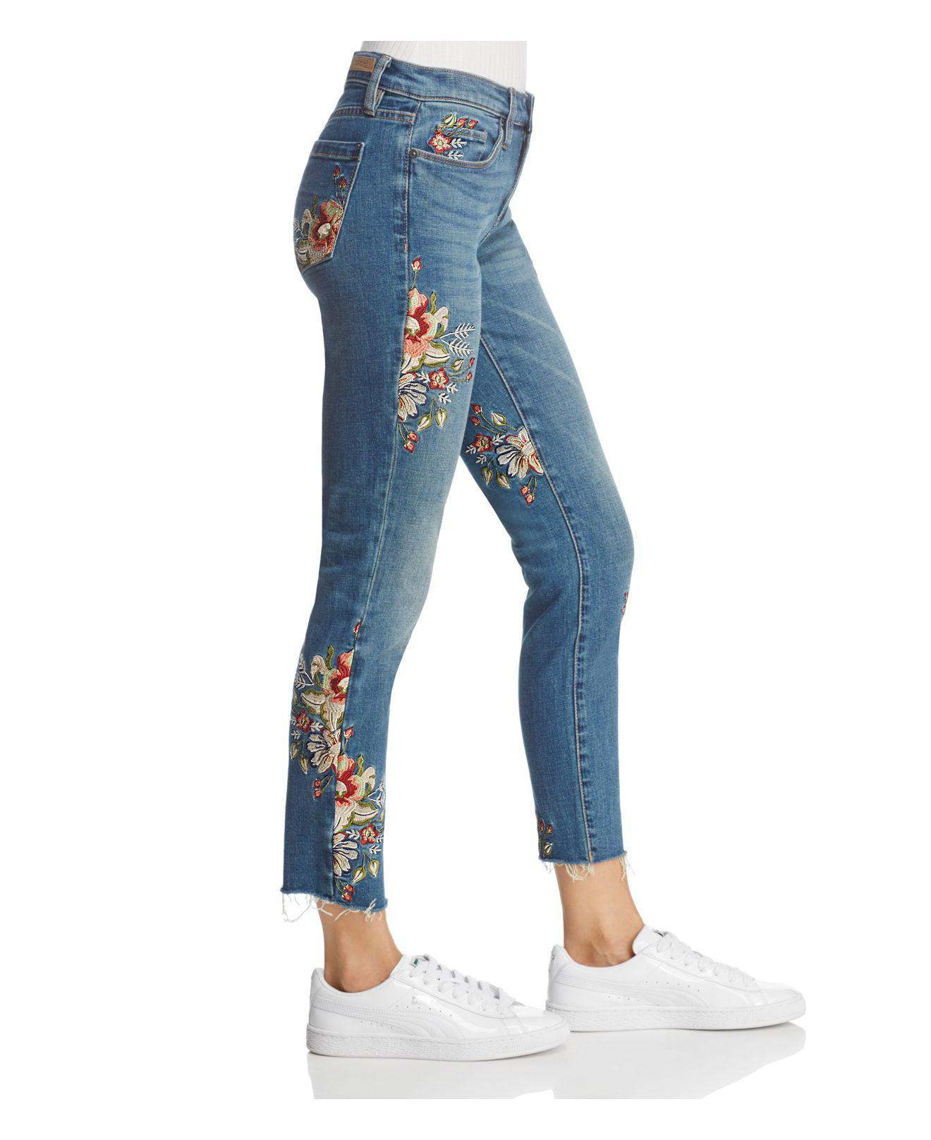Blank NYC Embroidered Straight-leg Jeans In Green Thumb Blue