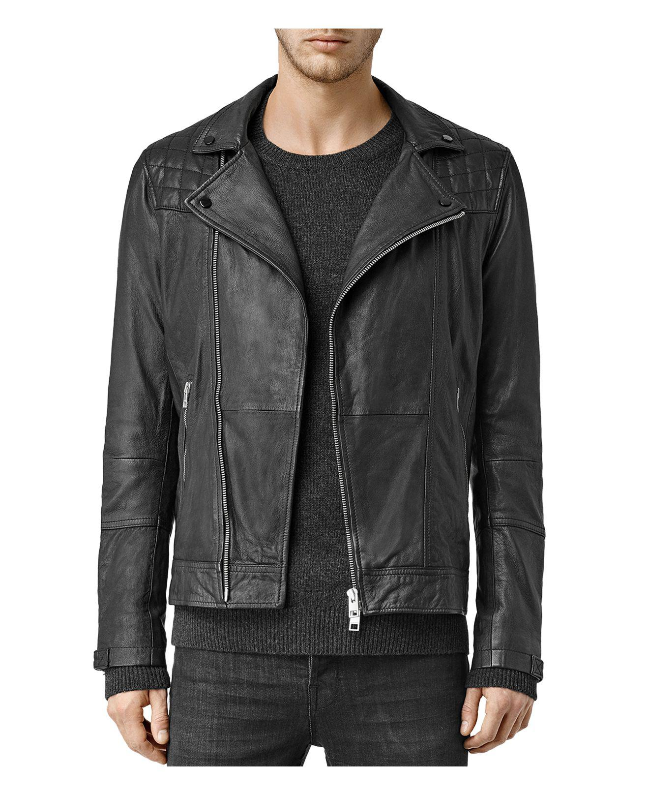 Allsaints Kushiro Leather Slim Fit Moto Jacket In Black