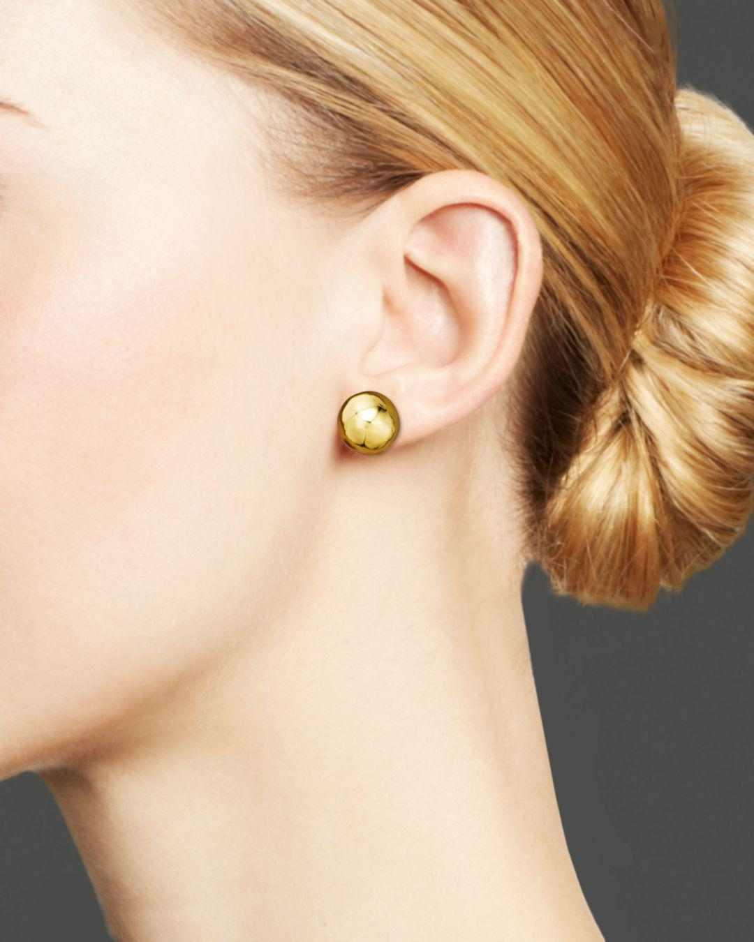 18k Gold Hammered Ball Stud Earrings In