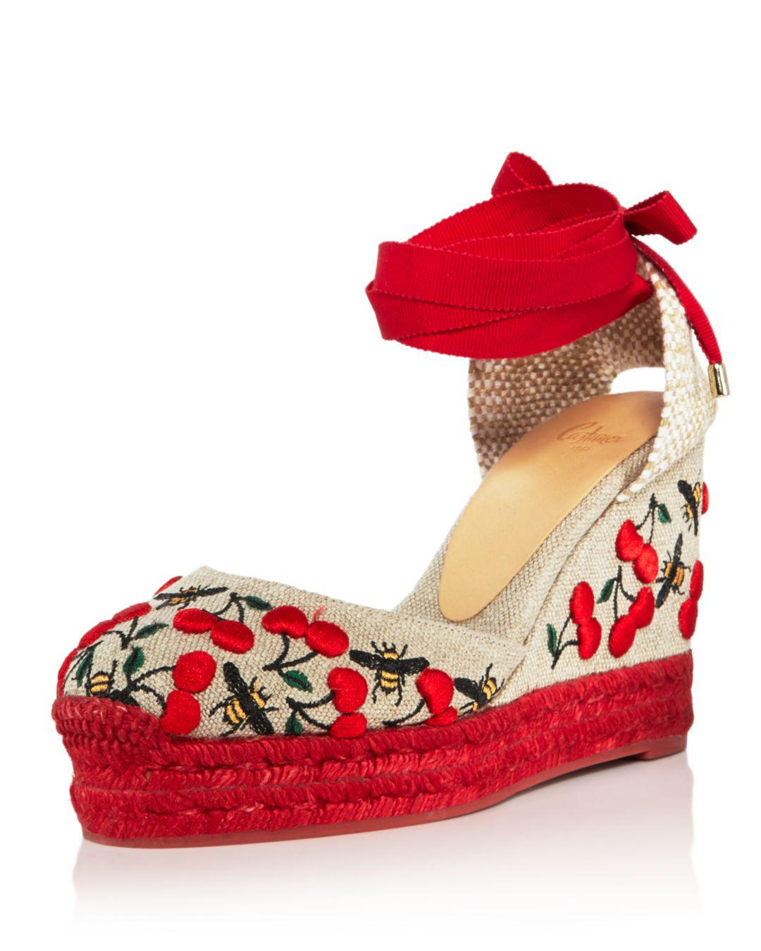 9cba2e58427 Castaner. Natural Women s Carina Merlion Park Embroidered Ankle Tie Wedge  Espadrilles