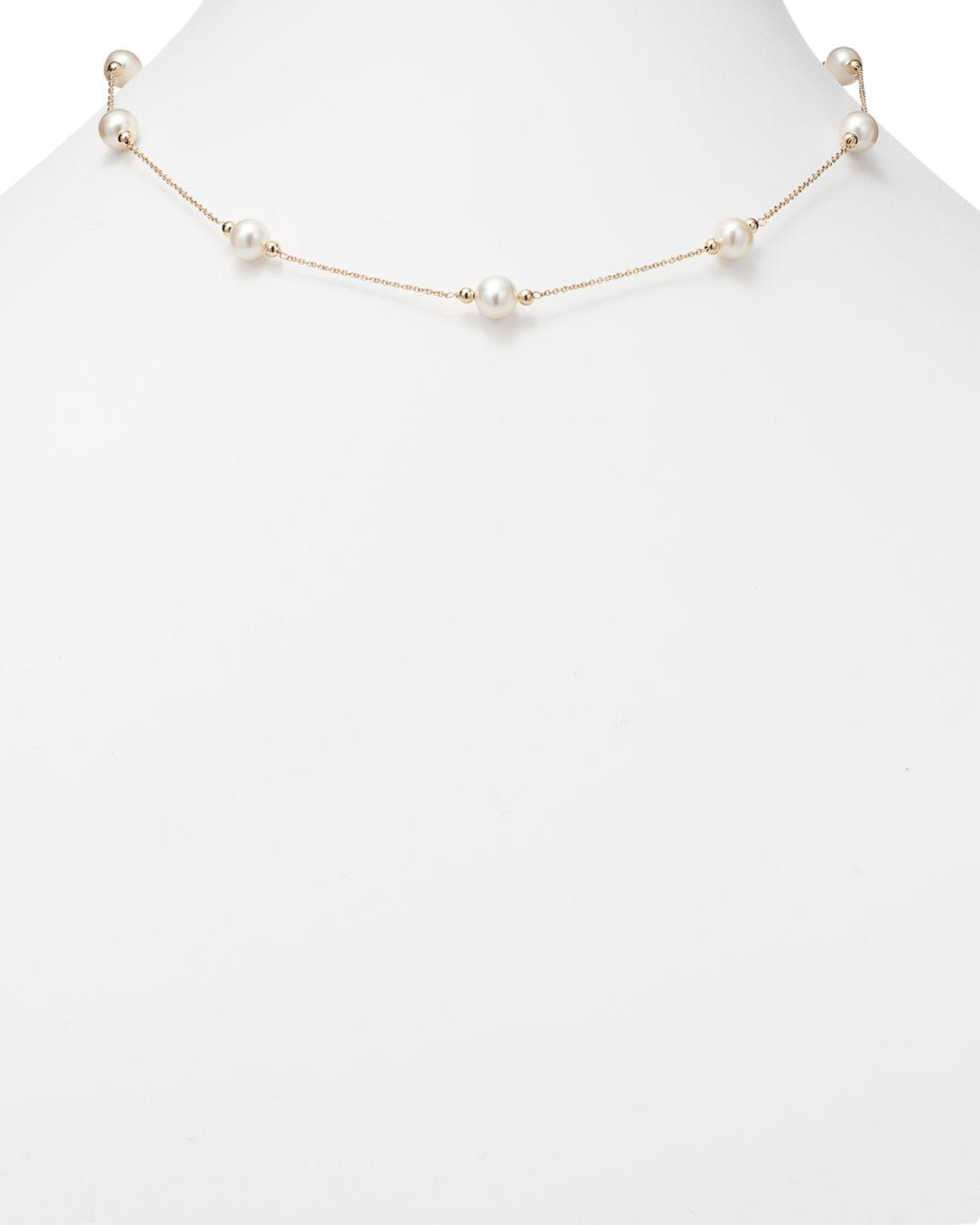 Bloomingdale's Cultured Freshwater Pearl And Beaded Station Necklace In 14k Yellow Gold in White/Gold (White)