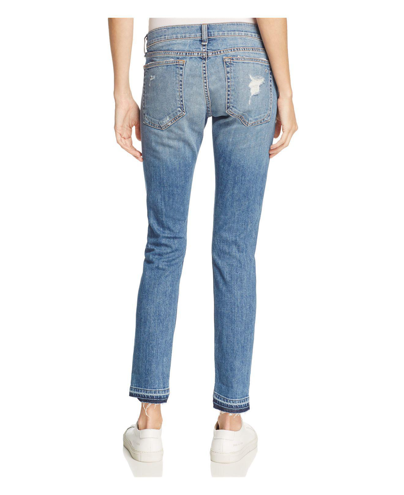 Rag & Bone Denim The Dre Slim Boyfriend Crop Jeans In Kennedy in Blue