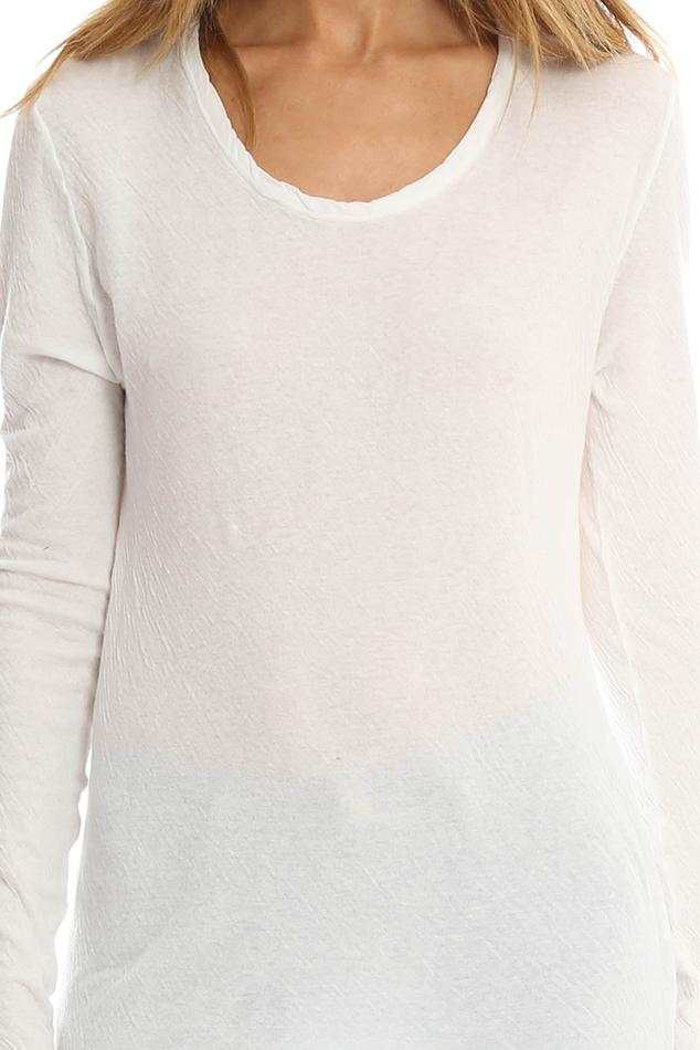 V :: Room Cotton Double Gauze Jersey Crewneck Top in White