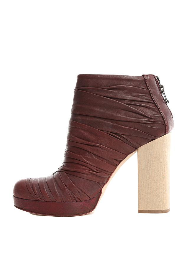 LD Tuttle Ruched Leather Ankle Boots in Brown