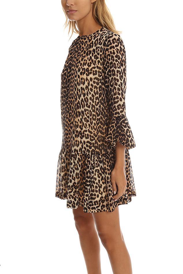 In Leopard Lyst Georgette Miku Dress Ganni Brown qxwqWB46Rn