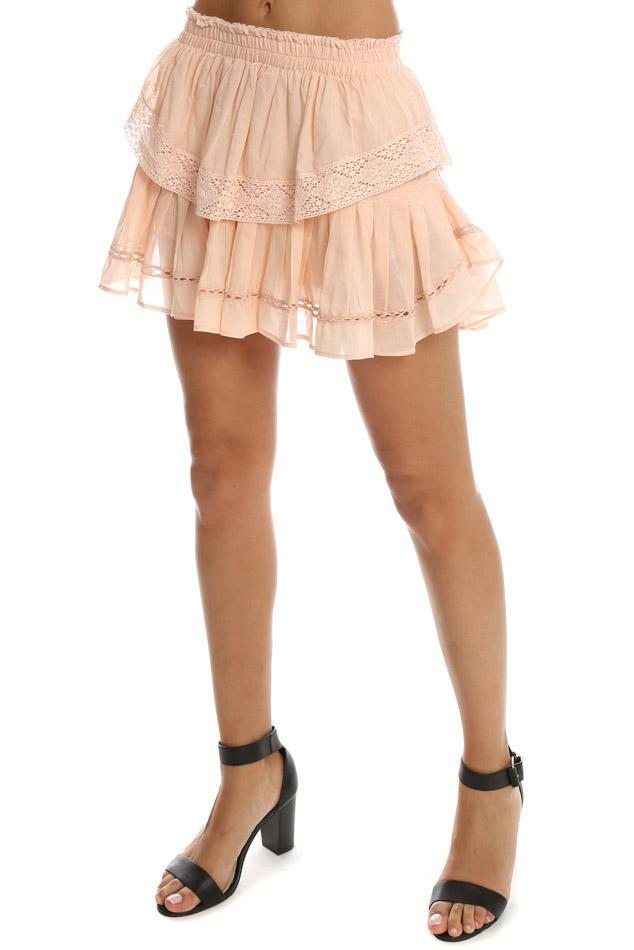 LoveShackFancy Cotton Ruffle Mini Skirt Blush