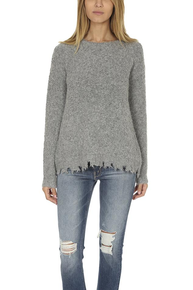 9bfe33e16f ATM Alpaca Crew Neck With Destroyed Hem Heather in Gray - Lyst