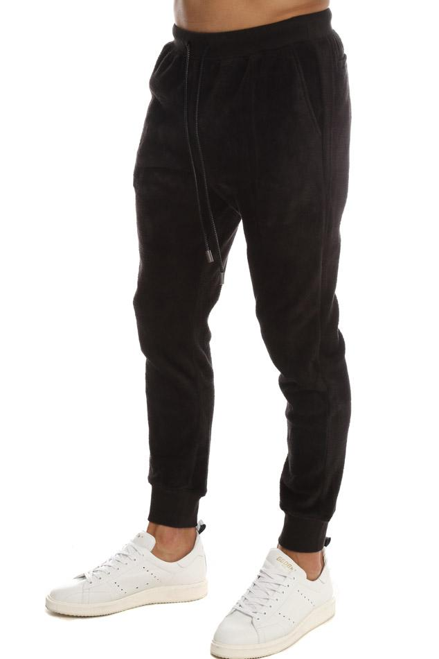 ATM Leather Velour Joggers Pants in Black for Men