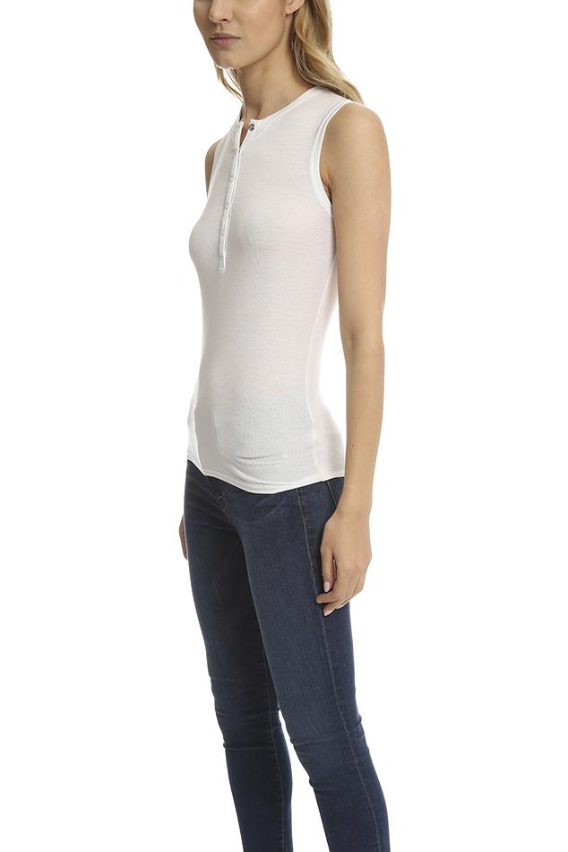 ATM Synthetic Sleeveless Henley Top in White