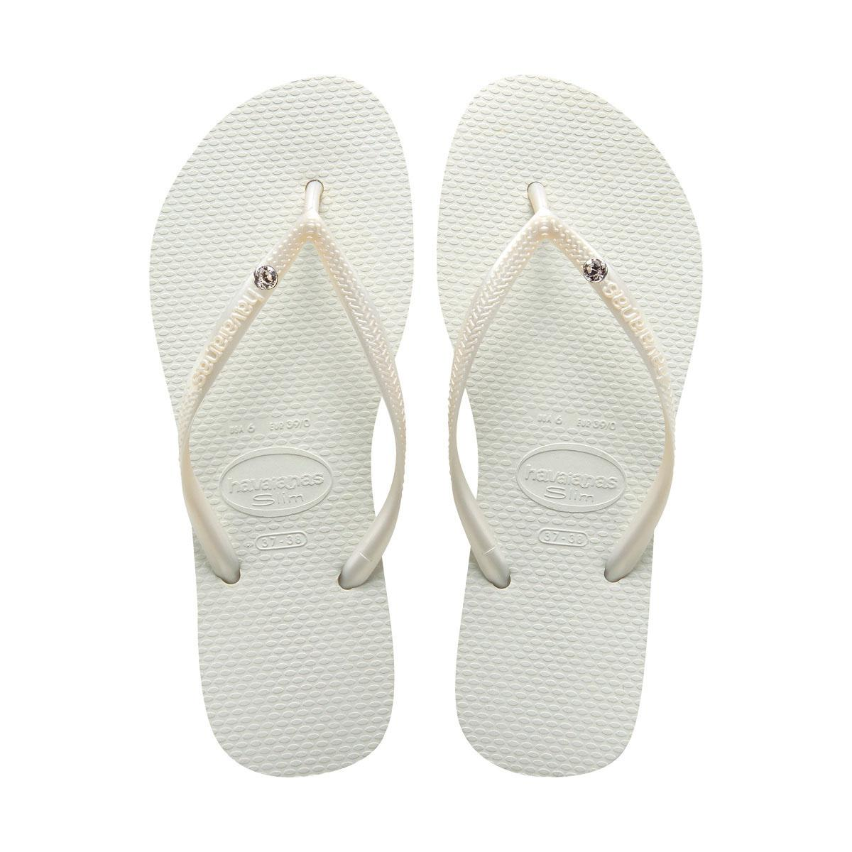 25363bac6 Havaianas Slim Crystal Flip Flops White in White - Lyst