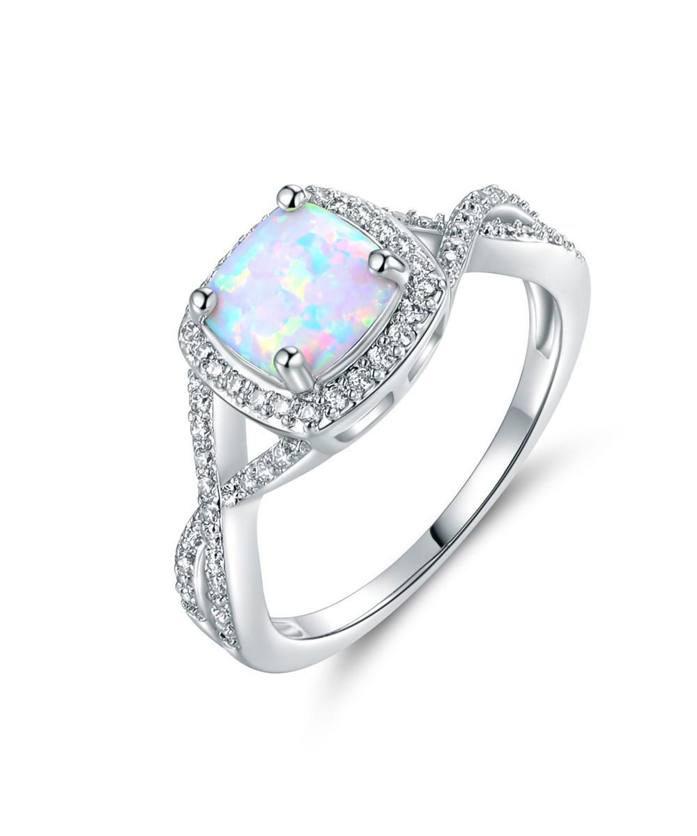 Brand-new Lyst - Peermont 18k White Gold Plated White Fire Opal Ring in Metallic GK45