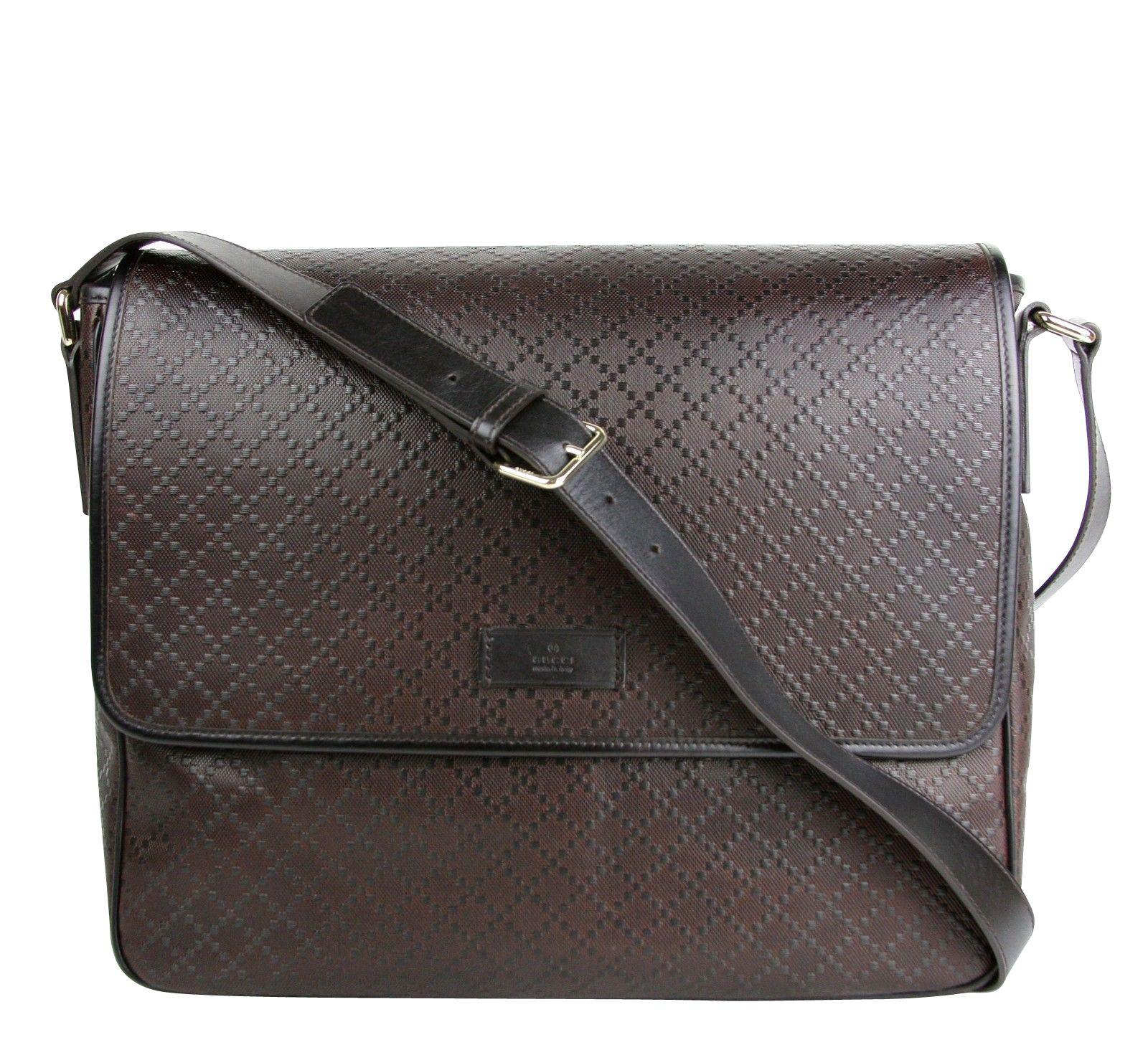 e8470be50ba5 Gucci. Women s Men s Hilary Lux Dark Brown Diamante Leather Messenger Bag  ...
