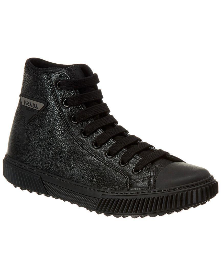 4ea2cab201586 Prada - Black Leather High-top Sneaker for Men - Lyst. View fullscreen
