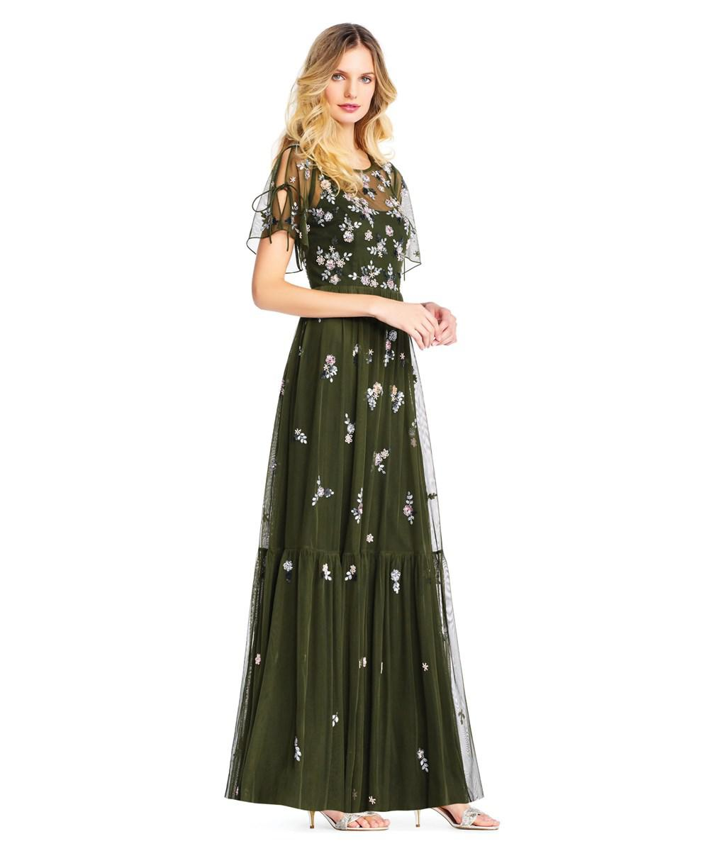 Lyst - Adrianna Papell Floral Sequin Boho Gown With Lace Up Flutter ...