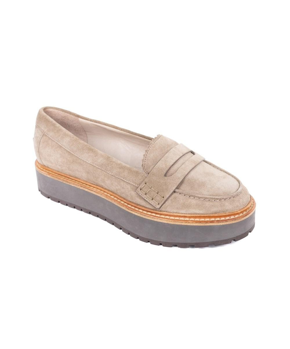 bf8e4560a80d98 Lyst - Brunello Cucinelli Womens Grey Suede Platform Loafers in Gray