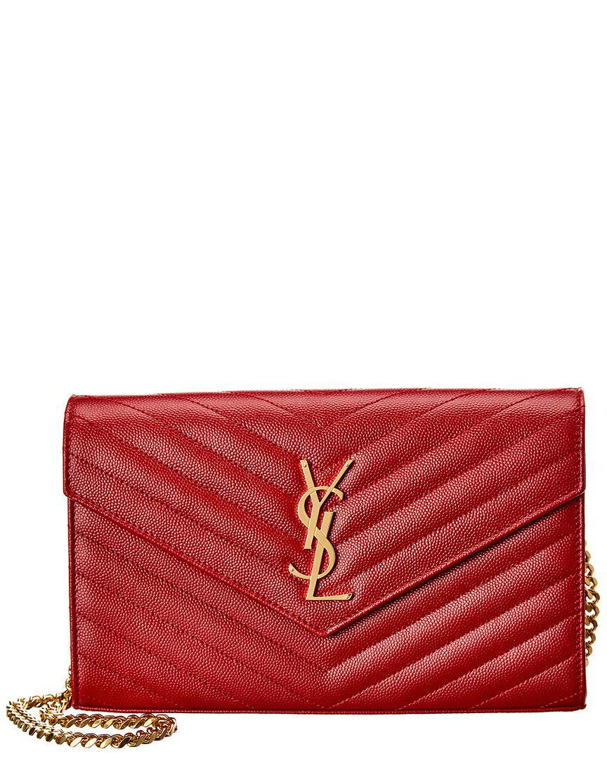 35548bb634 Lyst - Saint Laurent Monogram Matelasse Leather Wallet On Chain in Red