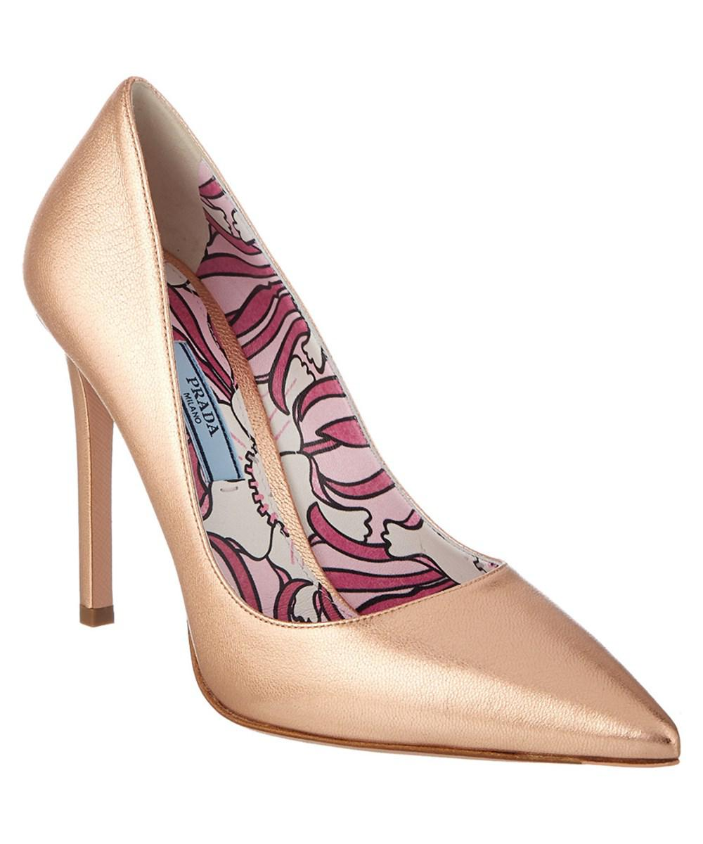 26a49cef5e1c Lyst - Prada 100 Metallic Leather Pointy-toe Pump