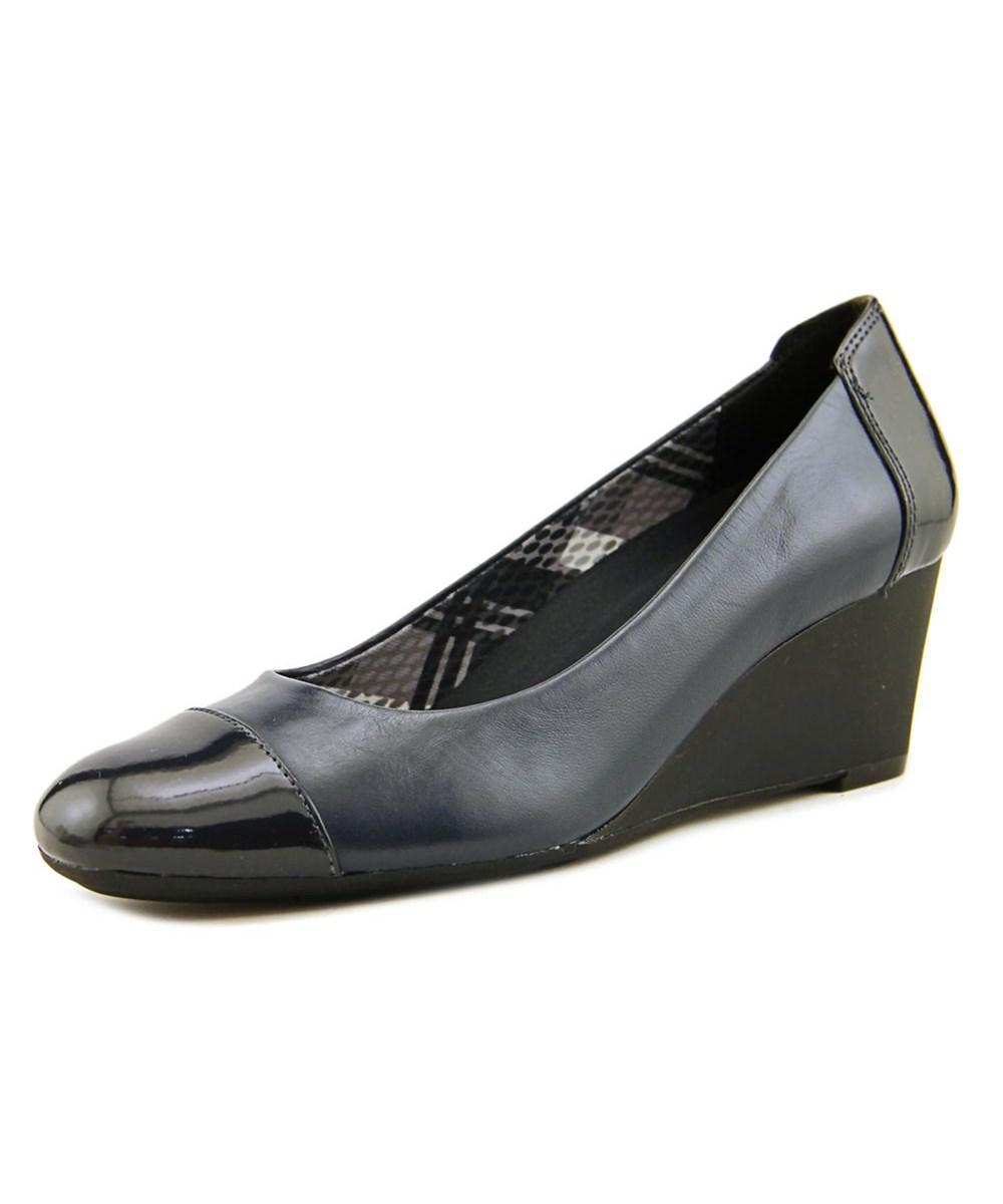 708ec7785e8 Lyst - Naturalizer Necile Women Open Toe Leather Blue Wedge Heel in Blue