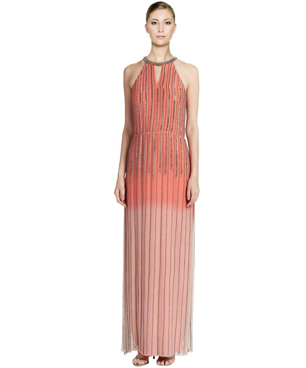 Lyst - Parker Revel Ombre Beaded Silk Evening Gown in Orange