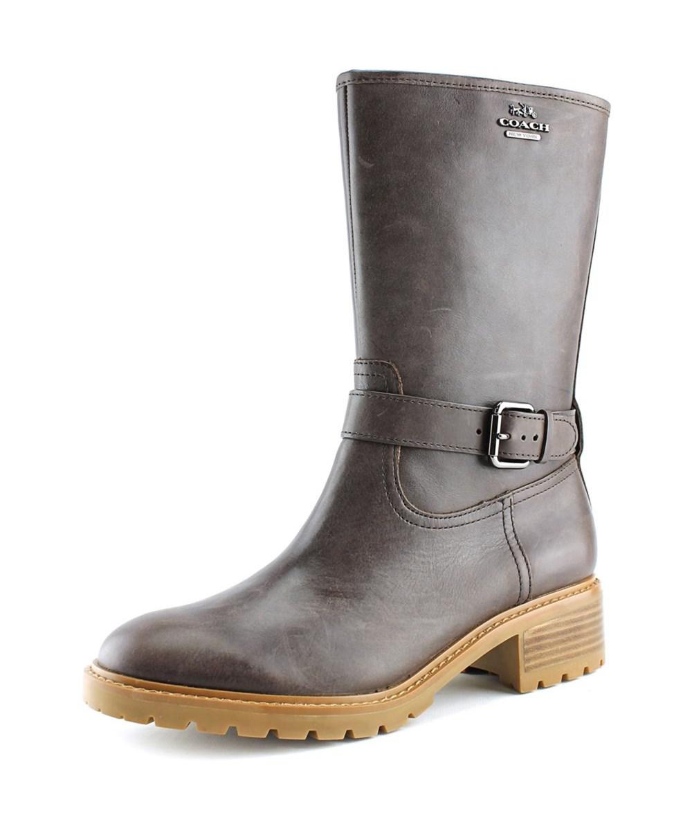 3efdc0818e09b Lyst - Coach Genie Women Round Toe Leather Brown Mid Calf Boot in Brown