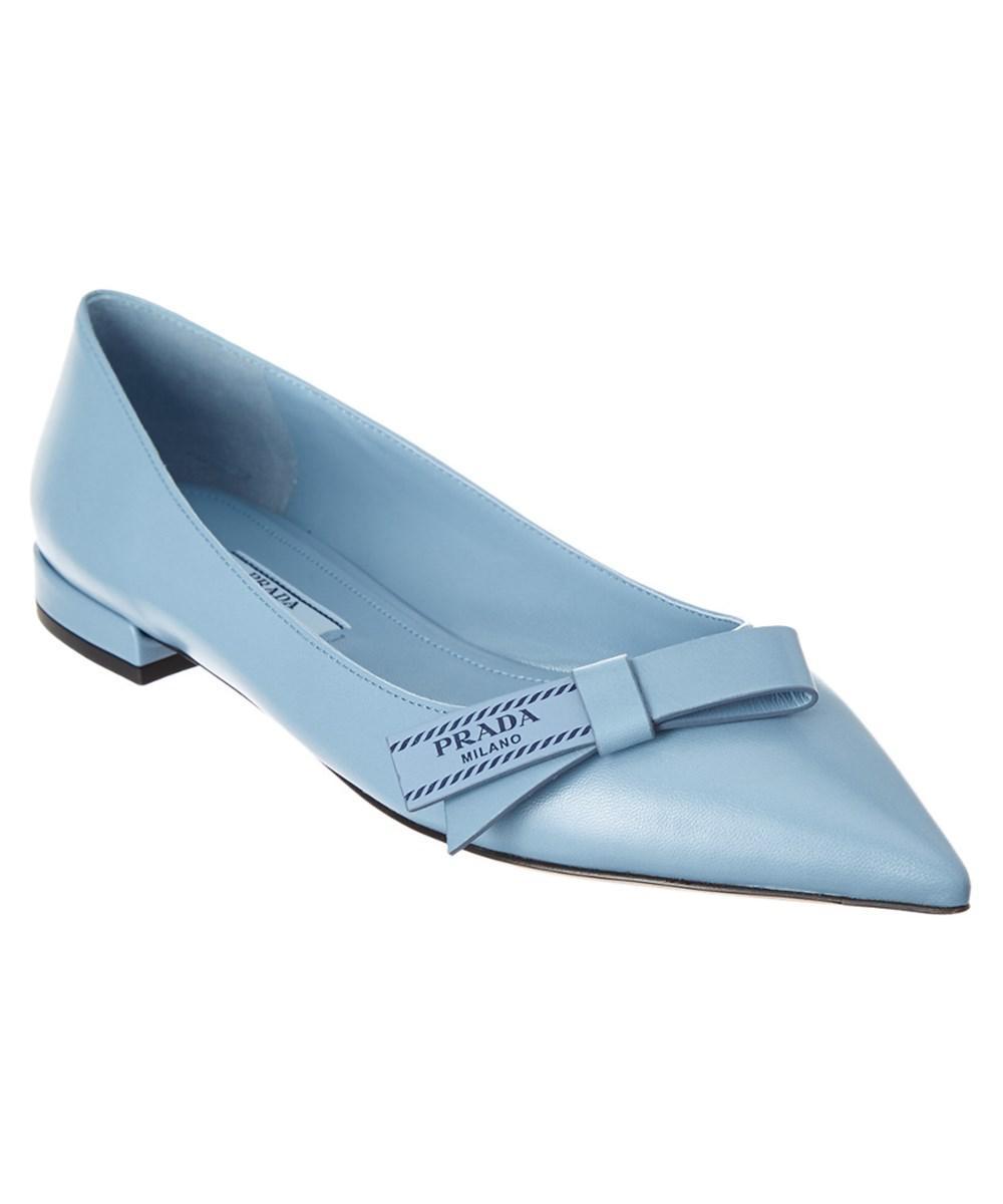 b528d41c7f4 Prada Etiquette Logo Leather Ballerina Flat in Blue - Lyst
