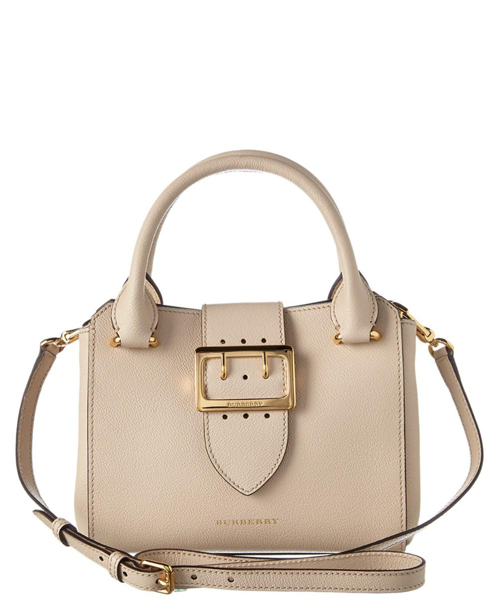 7944cb583582 Burberry Small Grainy Leather Buckle Tote in Natural - Lyst