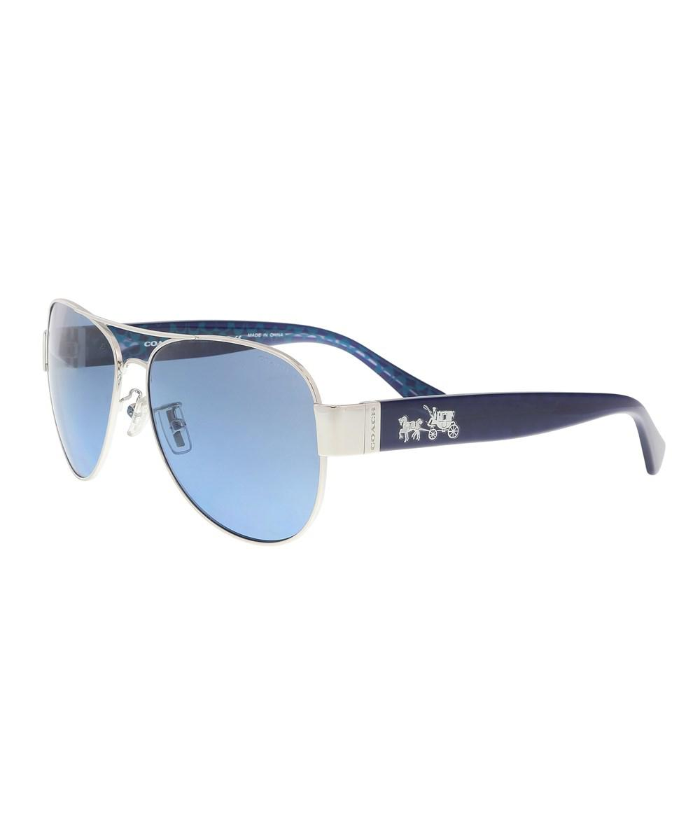 33bed9688f ... promo code for lyst coach hc7059 927817 silver milky navy aviator  sunglasses in 922d8 bc02f ...
