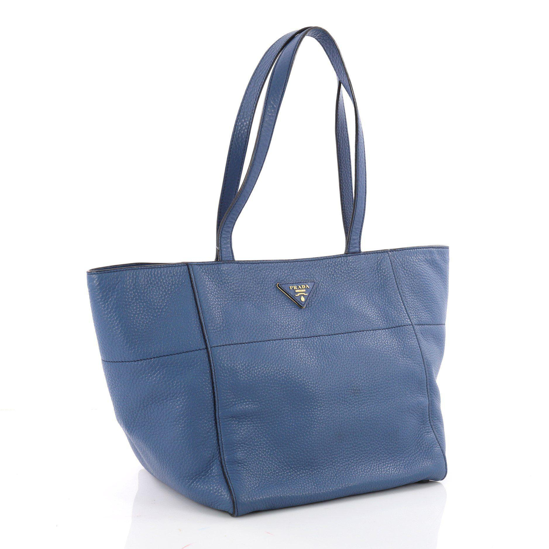 b4f5d955142e Prada - Blue Pre Owned Open Tote Vitello Daino Small - Lyst. View fullscreen