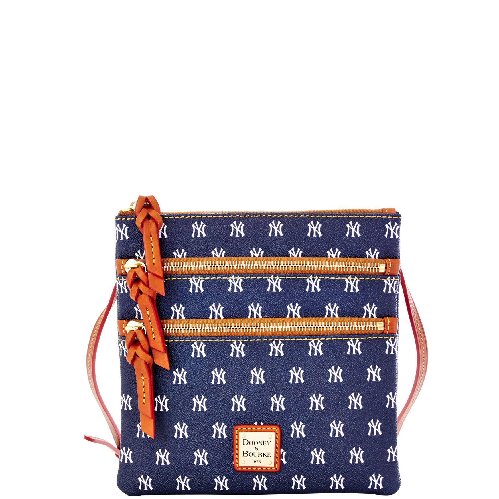 339f0183bb61 Dooney   Bourke. Women s Blue Mlb New York Yankees Triple Zip Crossbody Shoulder  Bag