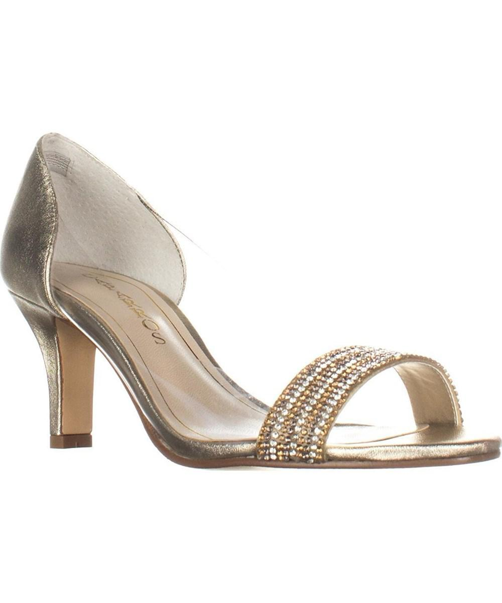 27e29170bd3c Lyst - Caparros Fancy Peep-toe Embellished Evening Pumps - Platino ...