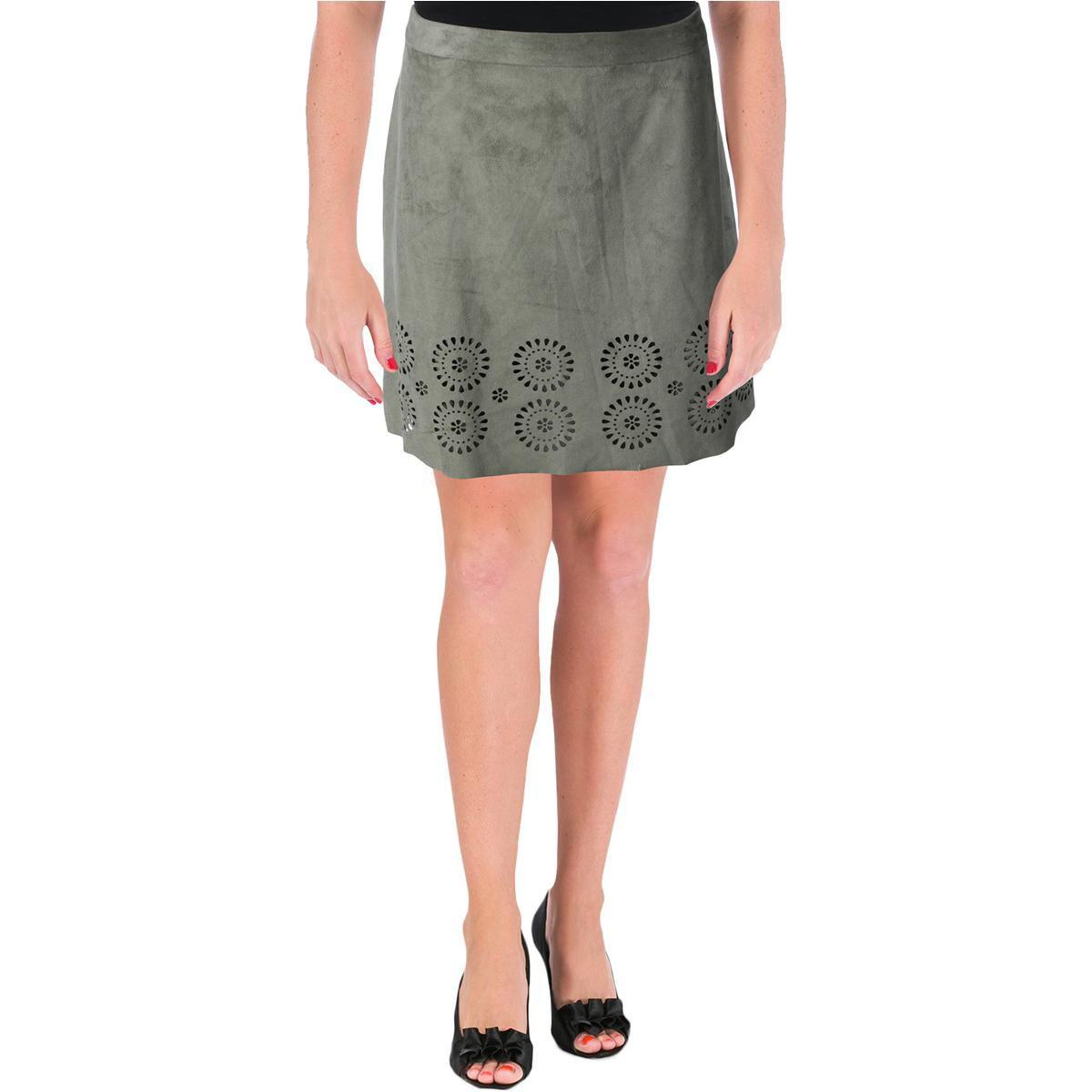 cb0cfb53ab Lyst - Vince Camuto Womens Faux Suede Laser Cut A-line Skirt in Gray