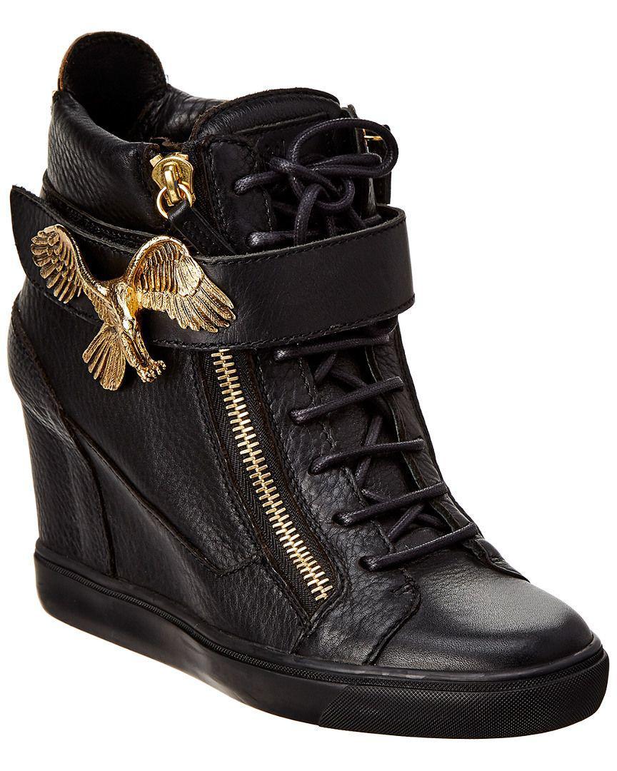480abb97594e Lyst - Giuseppe Zanotti Leather Wedge Sneaker in Black - Save ...