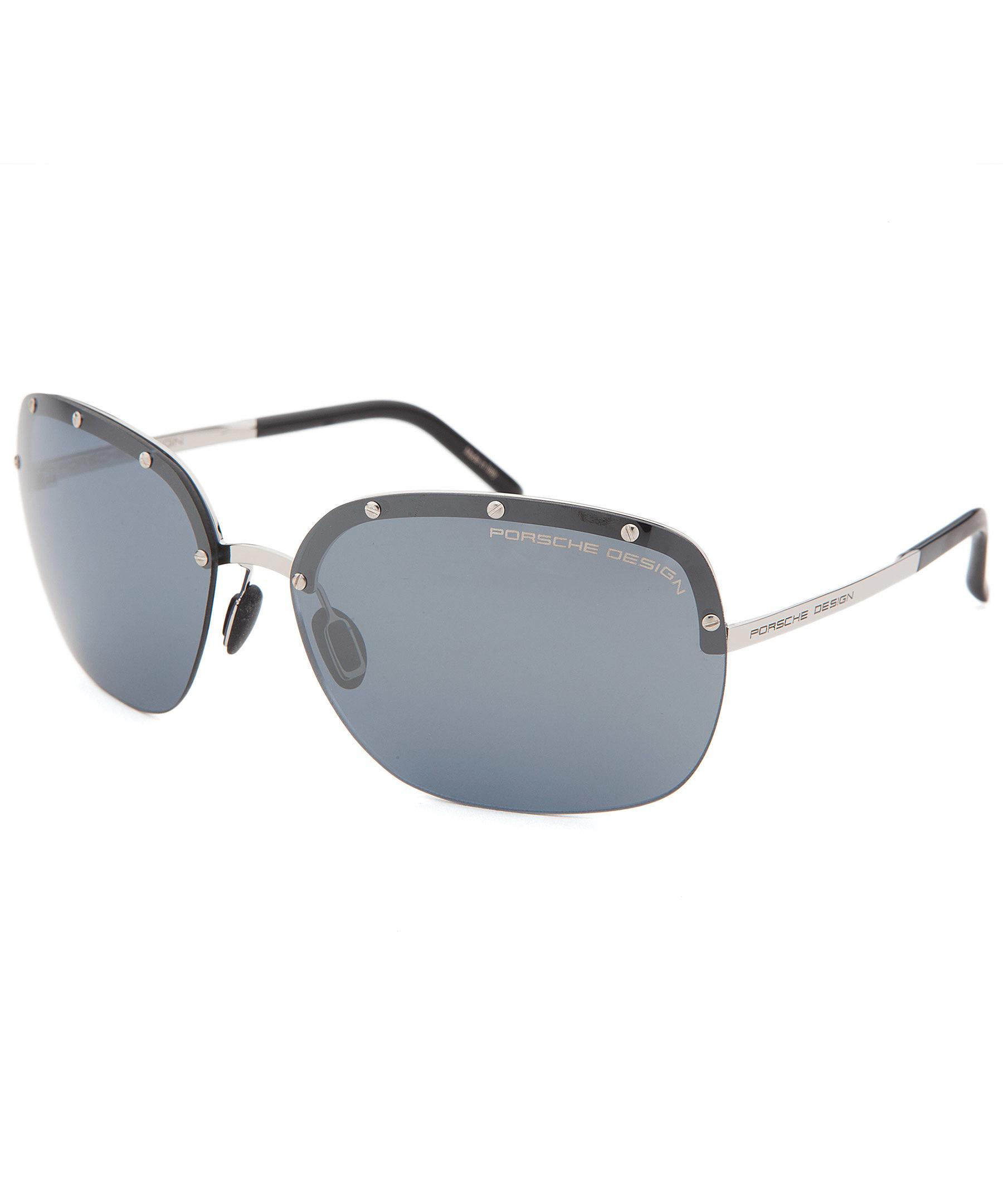 Porsche Design Women S Semi Rimless Silver Tone Sunglasses