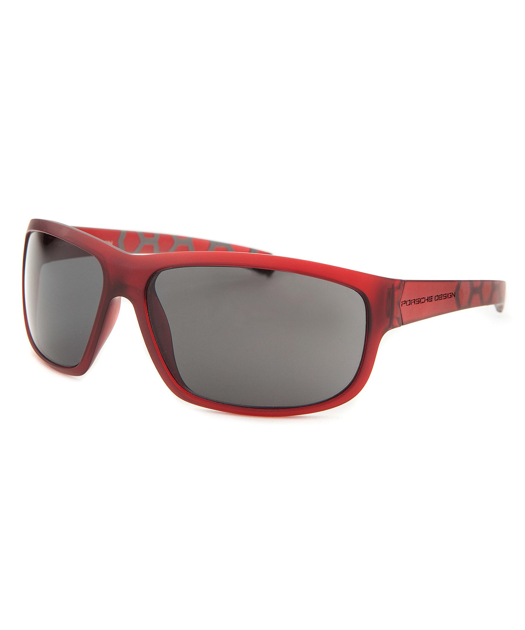 Porsche Design Men S Rectangle Red Sunglasses In Red For