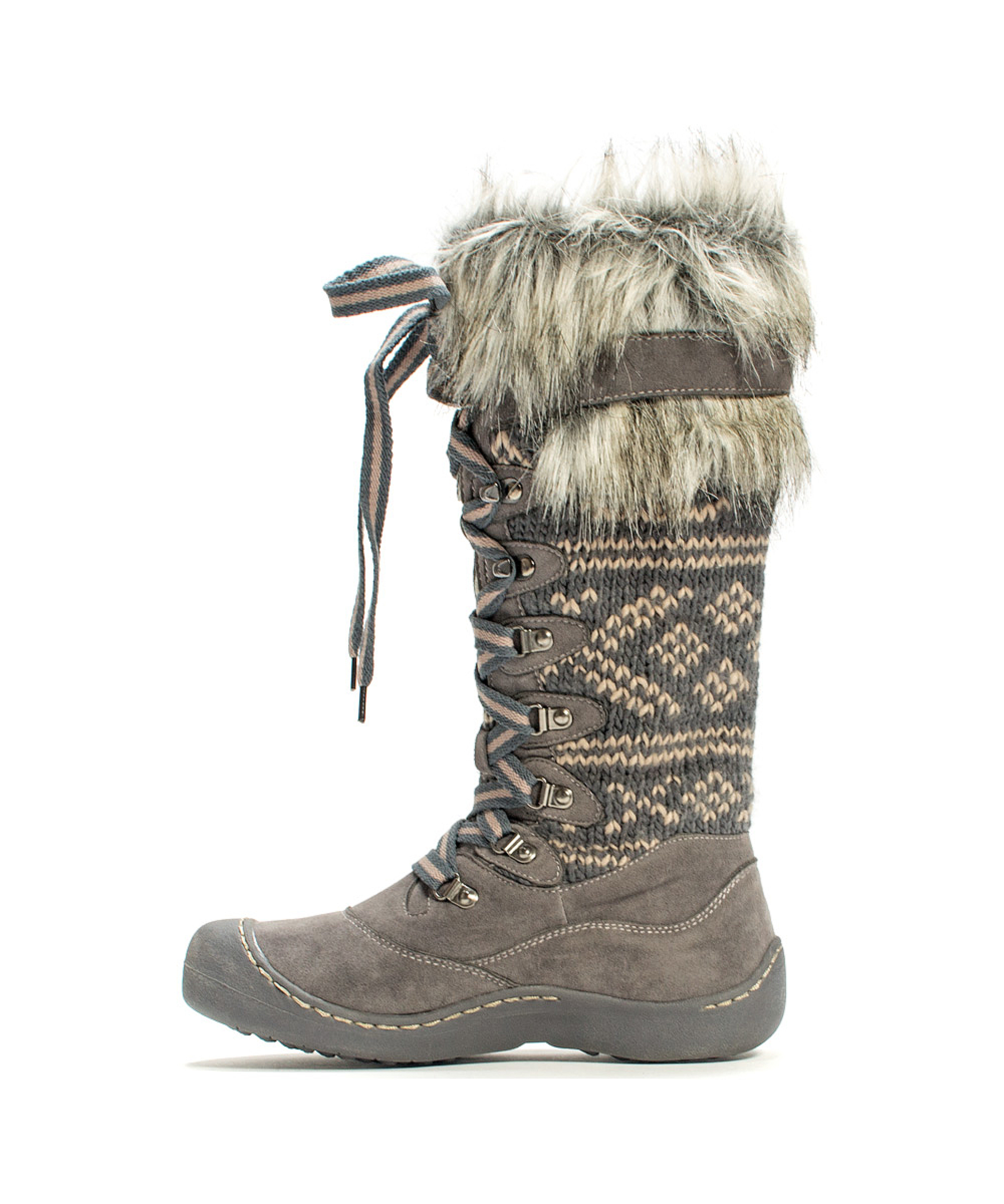 Lyst Muk Luks Women S Gwen Tall Lace Up Snow Boot In Gray