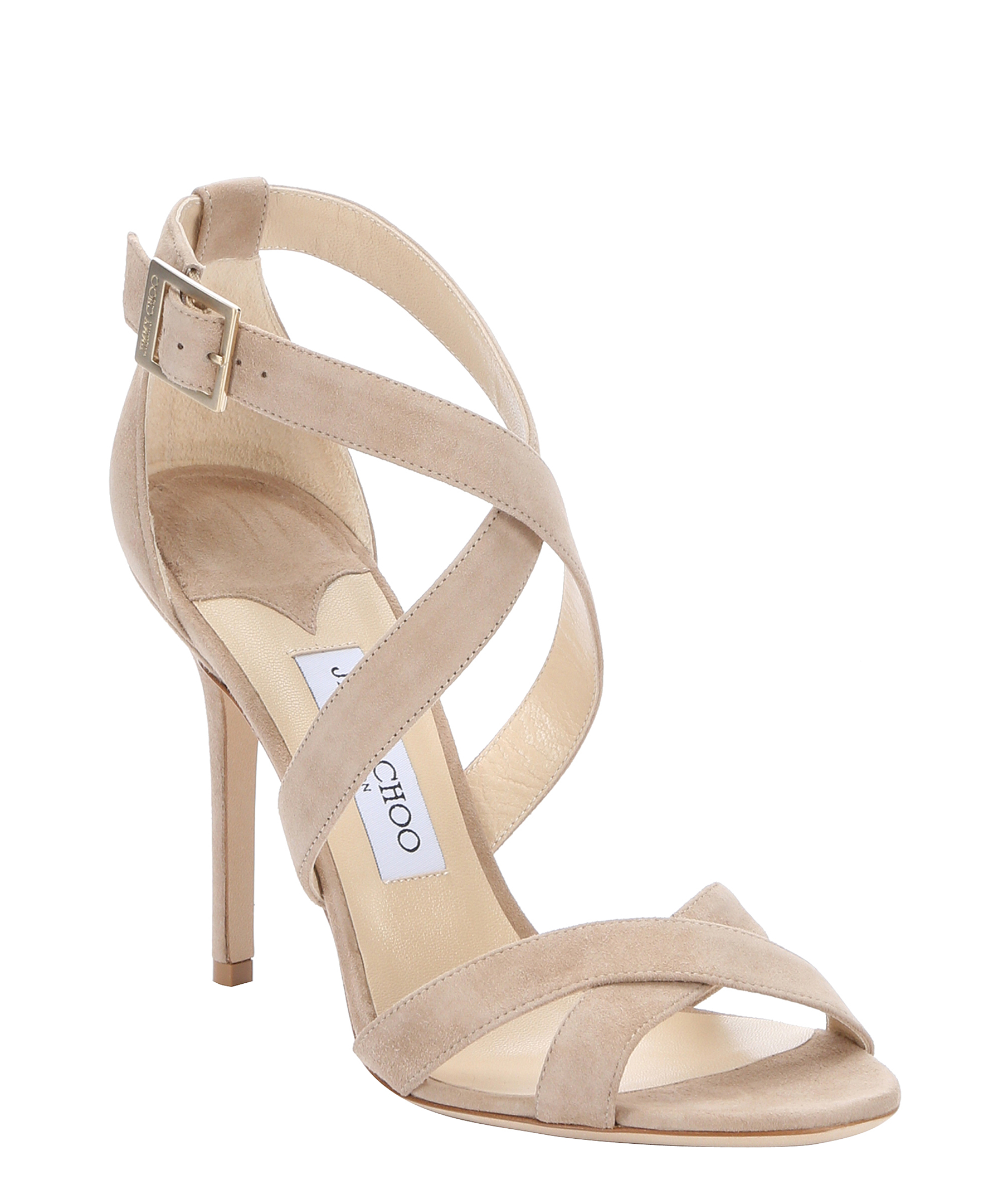 Jimmy choo nude suede 39 lottie 39 strappy sandals in beige for Jimmy choo mens shirts
