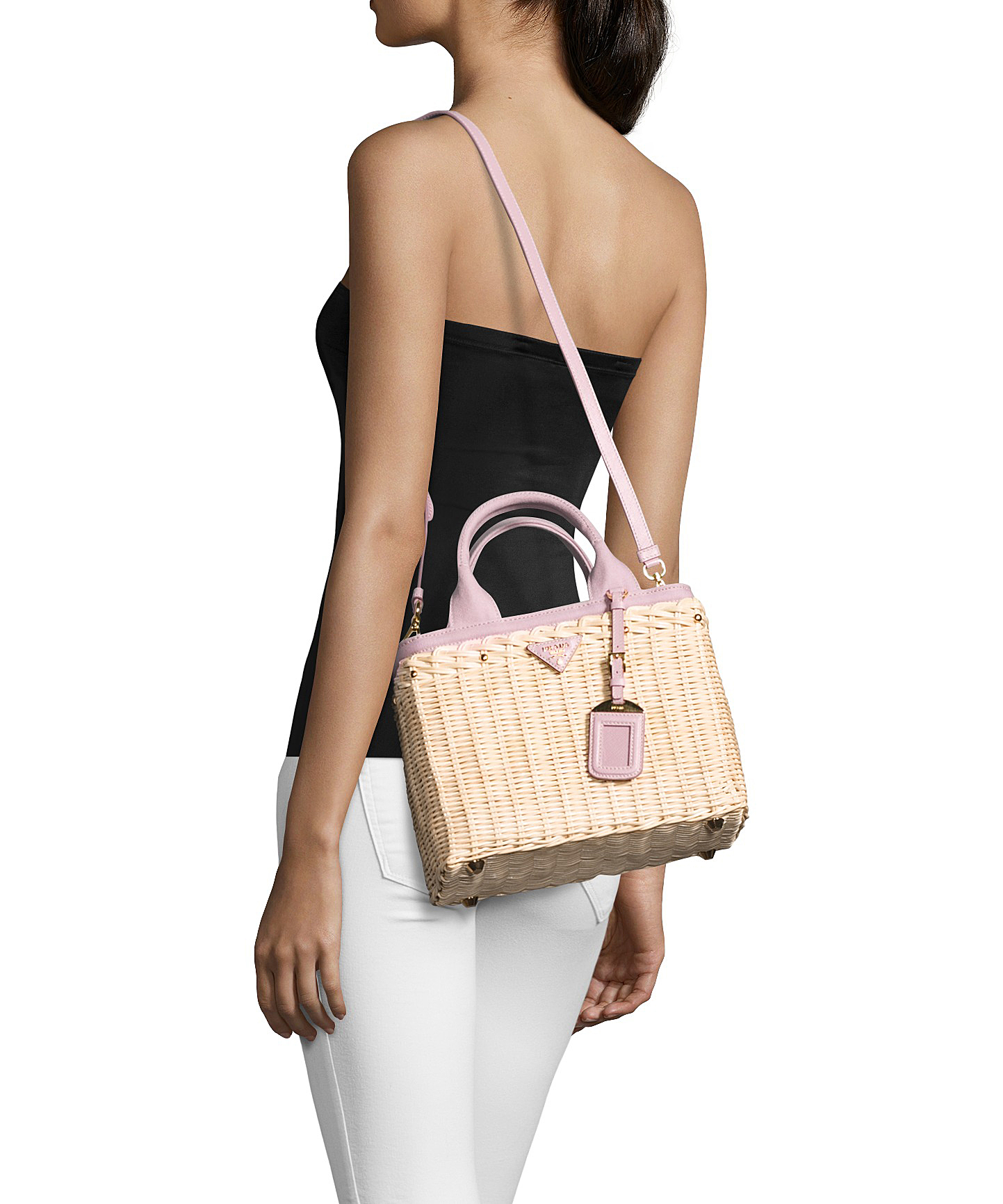 5a92ee3a42f0 Prada Natural Wicker And Rose Canvas Convertible Tote in Black - Lyst