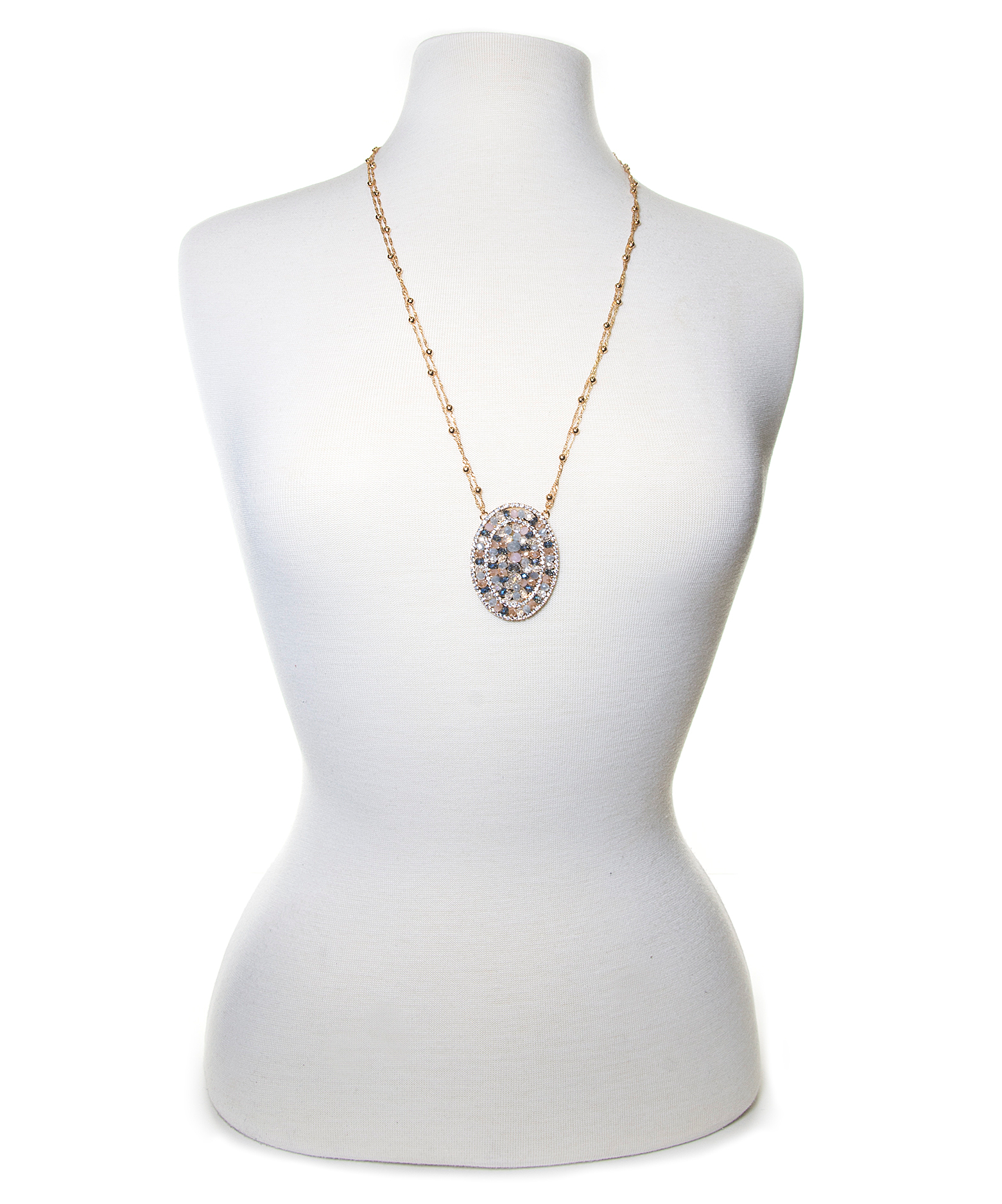 Jardin round crystal pave pendant in metallic lyst for Calvin klein jardin collection