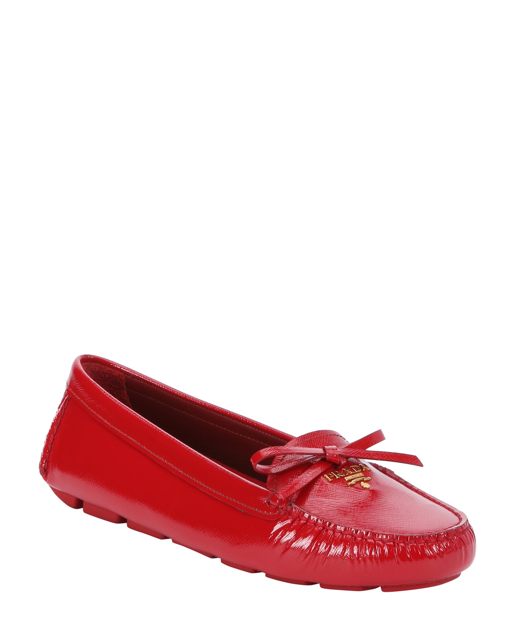 e08eec3e9ba Prada Red Patent Saffiano Leather Driving Loafers in Red