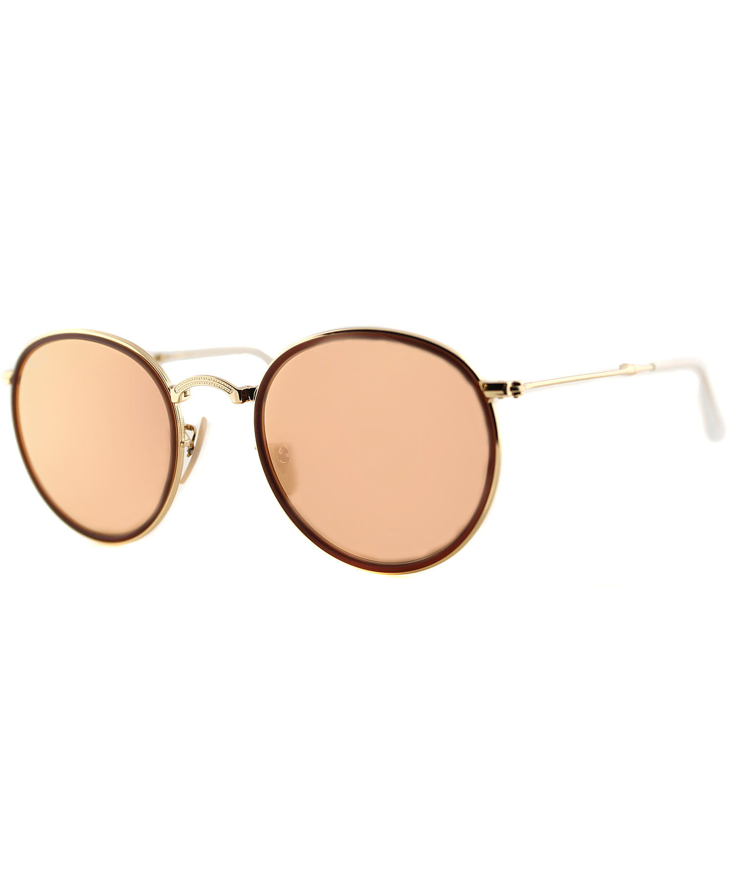 ray ban round metal sunglasses in brown gold save 18 lyst. Black Bedroom Furniture Sets. Home Design Ideas