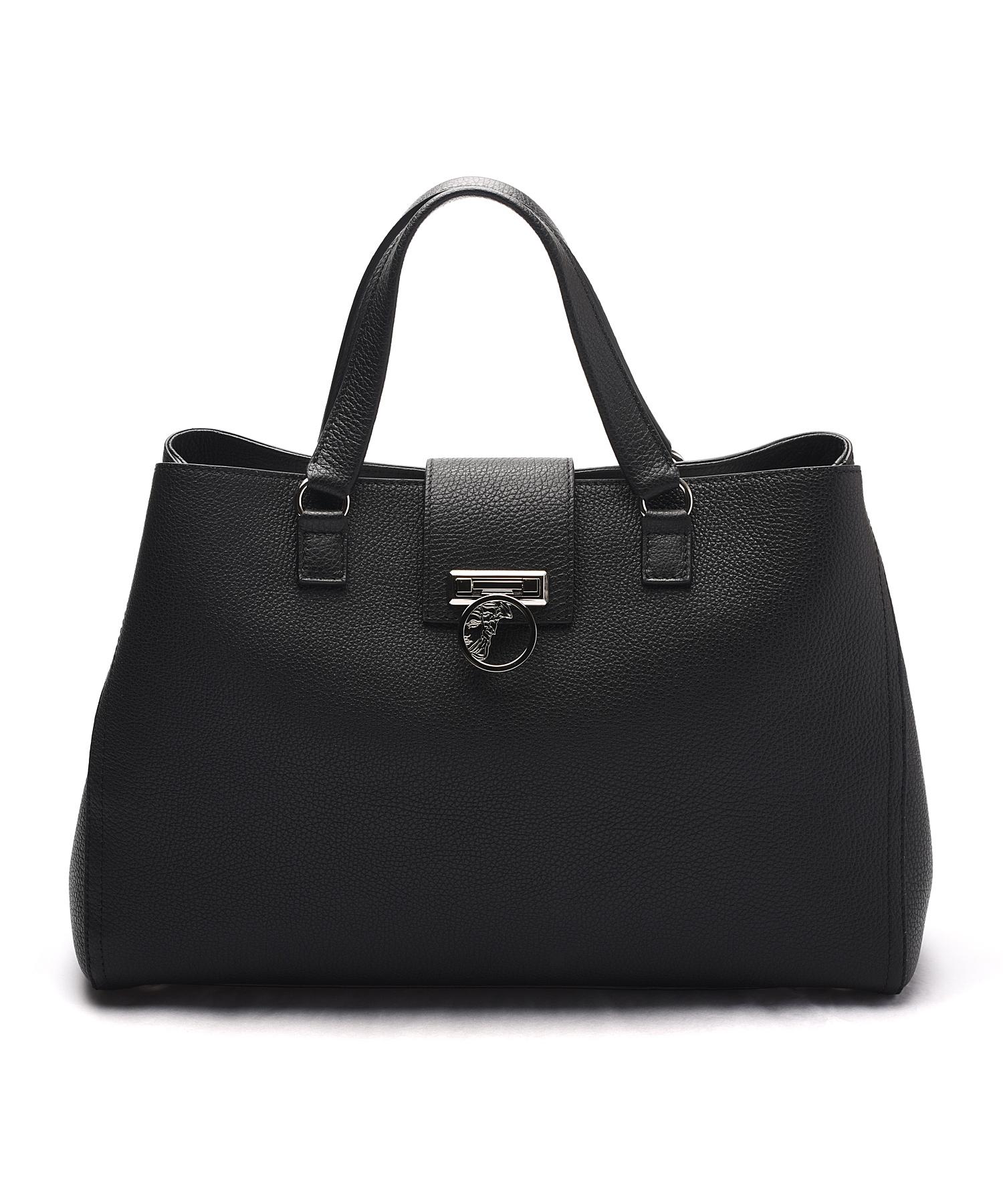 Versace Pebbled Leather Satchel Handbag In Black Lyst