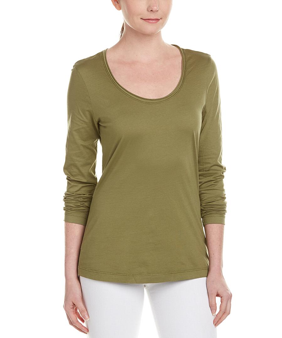 Michael stars raw edge scoopneck t shirt in green lyst for Michael stars tee shirts