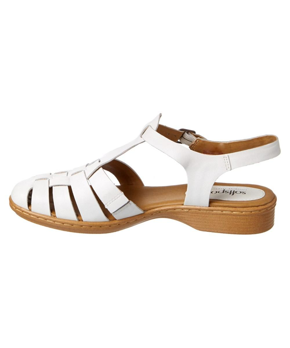 401bd37ddb67 Lyst - Softspots Soft Spots By Sofft Holly Leather Sandal in White