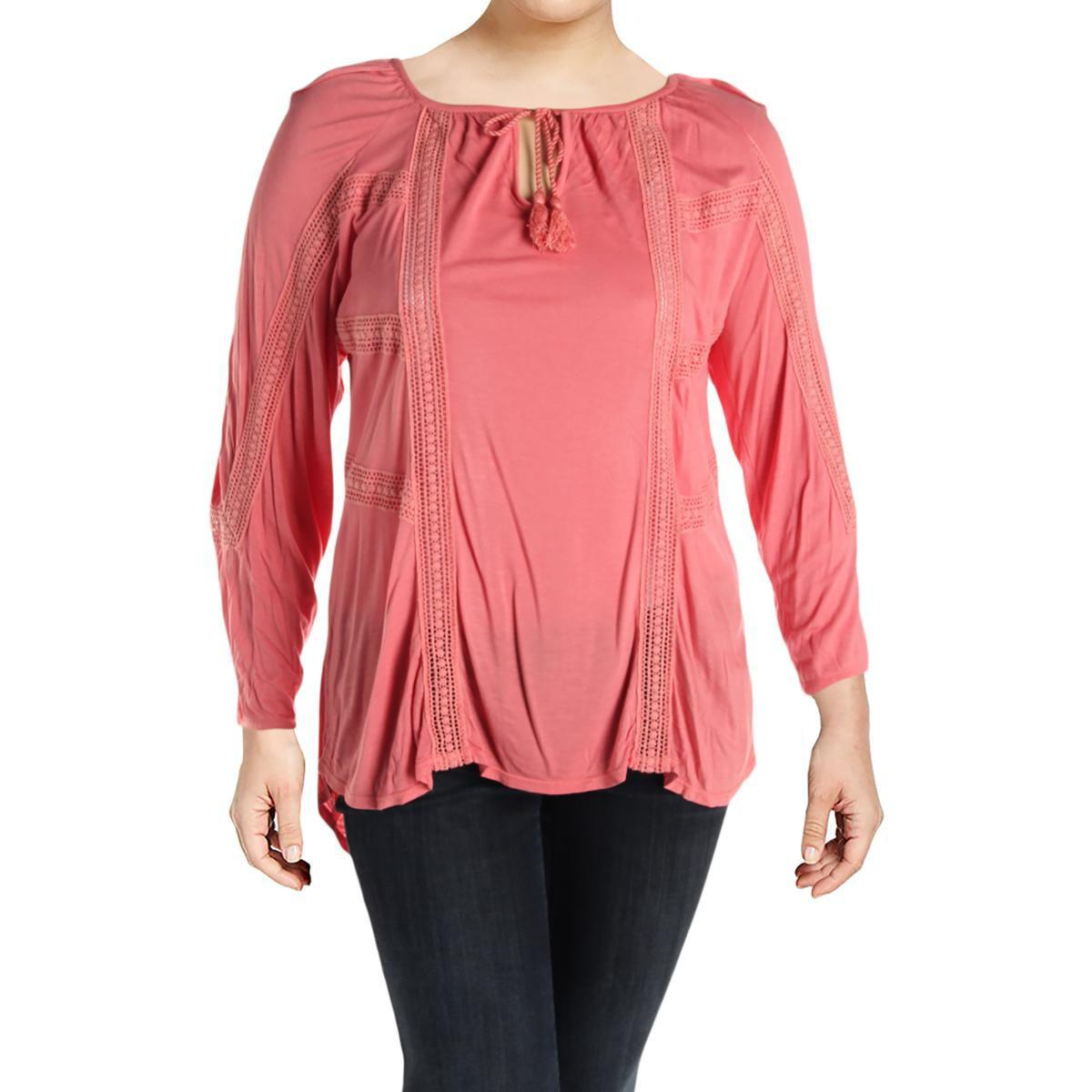 aae792c067512 Lyst - Lucky Brand Womens Plus Lace Inset 3 4 Sleeves Peasant Top in ...